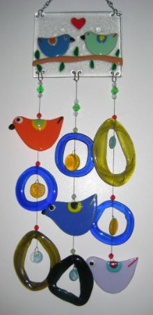 Love Birds Glass Wind Chime