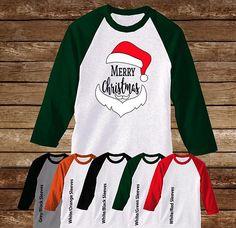 Merry Christmas Santa Raglan T-Shirt/Christmas Shirt/Christmas