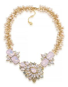 Jewellery & Accessories | Floral Accessories | Gemstone Garden Dramatic Frontal Gold Tone Necklace | Hudson's Bay