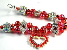 Toddler Girls Red Heart Holiday Bracelet With Red Swarovski Crystals by Chris of ChildWithStyle, $12.00