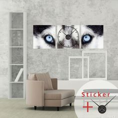 ... loup - Stickers STICKERS SPECIAUX Stickers Horloges - ambiance-sticker