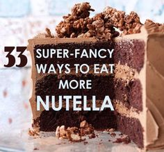 33 Super-Fancy Ways To Eat More Nutella | 1000 Chocolate Chip Cookie Pie, Nutella Hot Chocolate, Chocolate Torte, No Bake Nutella Cheesecake, Nutella Cupcakes, Nutella Cookies, No Bake Biscuit Cake, Nutella Sandwich, Fluffy Cream Cheese Frosting