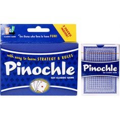 his popular trick-taking card game is designed for two players. Additional rules and variations for more players are included in this two-deck pack. For ages 8+  $7.99  http://calendars.com/Card-Games/Pinochle-2-Deck-Card-Game/prod200600011188/?categoryId=cat430010=cat430010#