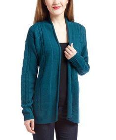 Loving this IB Diffusion Deep Teal Cable-Knit Kimono Cardigan on Grey Chevron, Deep Teal, Kimono Cardigan, Cable Knit, That Look, Knitting, Sweaters, Products, Fashion