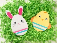 Egg Shaped Rabbit and Chick Easter Cards
