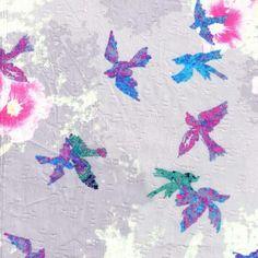 Fashion Cotton Fabric-Clip Jacquard Birds Gray