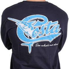1ae62d81c26 Retro Long Sleeve Logo Tee in Navy by Costa Del Mar