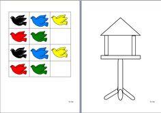 Vogels : lamineren + uitknippen. Hoort bij Opdrachtkaarten Vogels.   Kls leggen vogels op het blad met de vogelkooi, op de plaats waar hun vriendje zegt.