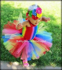Rainbow Clown Tutu Baby Toddler Outfit Costume Set 3 pc (Tutu, Stylish Top, Headband). $48.00, via Etsy.