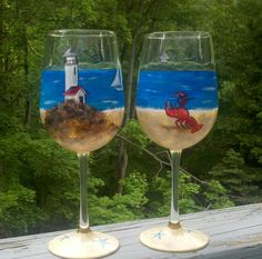 fun summer wine glasses | Harbor view hand painted wine glass. $30.00, via Etsy.