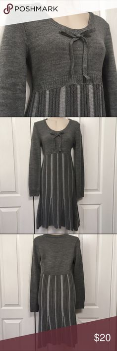 Venus Gray Sweater Dress Size Small Empire Waist Venus sweater dress in excellent condition. No stains, no damage, no pilling. Size small. Chest: 32 inches; waist: 28 inches; sleeve: 25 inches; neck to hem: 39 inches. Venus Dresses Long Sleeve