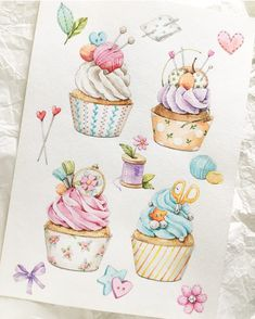New Cake Illustration Marker Ideas Watercolor Cards, Watercolour Painting, Watercolor Flowers, Cake Illustration, Watercolor Illustration, Christmas Drawing, Pintura Country, Food Drawing, Chalk Art