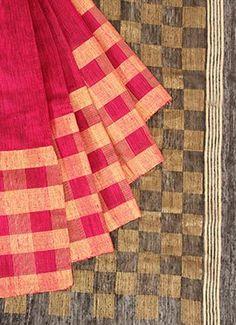Pinkish Red Pure Silk Pothys Saree