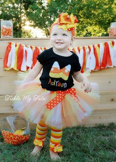 Candy Corn Cutie Halloween Tutu Outfit, Candy Corn Pair Tutu Outfit, Candy Corn Birthday Outfit, Halloween Pageant Outfit