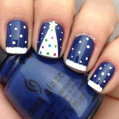 Pictures of Blue Nail Art Designs 2019 - Nails C Cute Christmas Nails, Christmas Nail Art Designs, Holiday Nail Art, Xmas Nails, Winter Nail Art, Winter Nails, Diy Nails, Winter Christmas, Blue Christmas