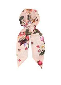 Ted Baker Smalle sjaal Nude Pink met bloemmotief
