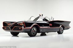 Stunning: The batmobile first appeared to be sold for an estimated £3million when it goes up for auction atBarrett-Jackson Collection Showroom in Scottsdale, Arizona