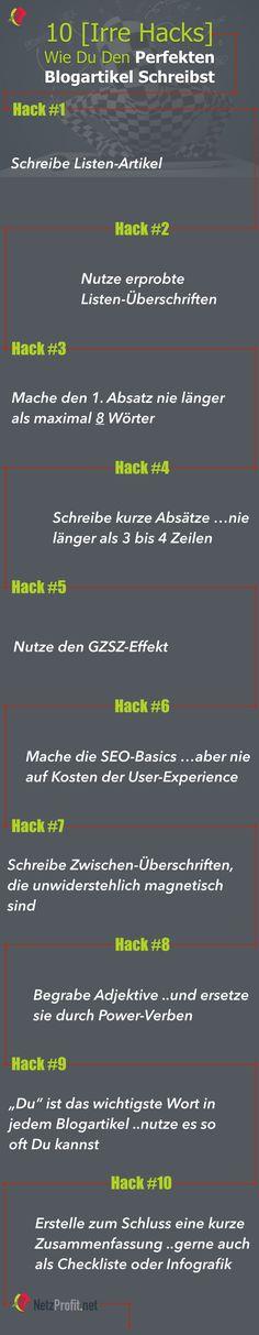 10 irre Hacks wie Du den perfekten Blogartikel schreibst - Infografik (Travel Ideas Creative)