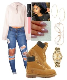 """""""timberland"""" by vshyaas ❤ liked on Polyvore featuring Timberland, Off-White, NARS Cosmetics, Lana and Rolex"""