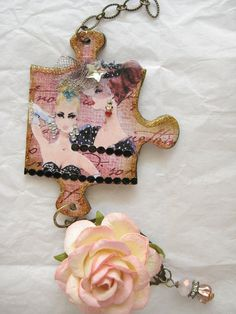 Altered puzzle piece charm (front)