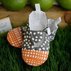 Baby Boy Shoes  Gray and Orange   Soft Sole Baby by TillyWhistle, $30.00
