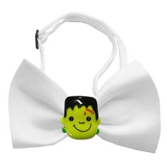 Frankenstein Halloween Chipper Dog Bow Tie. Dogs will search for villagers to get them some candyin this adorable Frankenstein Halloween Chipper Dog Bow Tie! Frankenstein on a white bow tie Adjustable sizing around neck Made of polyester Why We Love It: Have a spooky good time this Halloween season with the Frankenstein Halloween Chipper Dog Bow Tie! This tie has an adjustable slide to fit most dogs. Great for pictures and easy dress up gear.*THESE ARE ONLY A DECORATIVE ITEM AND CANNOT BE...