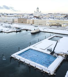Would you swim in this pool when it´s super freezing outside? Maybe you should, even if you don´t like cold that much. The Allas Sea Pool is heated to comfortable temperature of 28 degrees all around the year. Big Pools, Swimming Pools, Places To Travel, Places To Visit, Stockholm Travel, Winter Activities, Helsinki, Finland, Over The Years