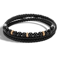 John Hardy Men's Classic Chain Woven Leather & Bead Triple-Wrap... ($895) ❤ liked on Polyvore featuring men's fashion, men's jewelry, men's bracelets, black, mens wrap bracelet, mens 18k gold chains, mens engraved bracelets, mens chains and john hardy mens bracelets