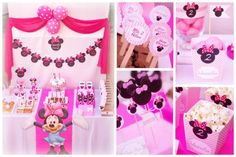first birthday party ideas baby minnie mouse   items used in this party available in kara s party ideas shop striped ...