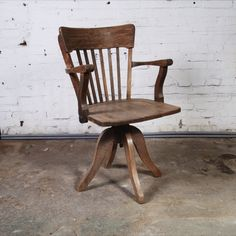 Vintage wooden office chair By: Six and Sons http://lokalinc.nl/profile/six-and-sons