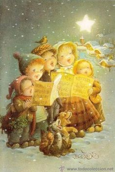 An All A Good Night und Buon Natale, Frohe Weihnachten, Joyeux Noel, Feliz Navidad . Vintage Christmas Images, Christmas Scenes, Old Fashioned Christmas, Christmas Past, Retro Christmas, Vintage Holiday, Christmas Carol, Christmas Pictures, Christmas Greetings
