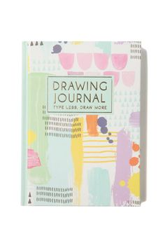 Type less and draw more with the Typo Drawing Journal! This matte textured hard cover journal with gold colour foil detail lets you record your own title and date each work of art. The Drawing Journal has 360 pages with 6 different internal designs to get those creative juices flowing. Made from paper. Dimensions: 13cm x 18.2cm x 2.8cm