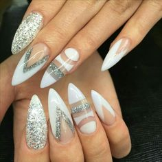 50 Stilleto Glitters Nail Art Ideas for Wedding