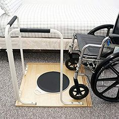 Wheelchair Pivot board to Assist with Transfer plus grab rails angled for use both ways. Weight on the base board makes it steady. Handicap Accessible Home, Handicap Bathroom, Wheelchair Accessories, Adaptive Equipment, Medical Equipment, Mobility Aids, Occupational Therapist, Assistive Technology, Coffee And Books