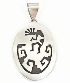 Vintage Hopi Sterling Silver Kokopelli Pendant David Mowa Made In The USA