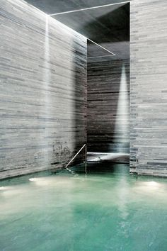 Built over the only thermal springs in the Graubunden Canton in Switzerland, The Therme Vals is a hotel and spa in one which combines a complete sensory experience designed by Architect Peter Zumthor. Architecture Ombre, Space Architecture, Contemporary Architecture, Sustainable Architecture, Scandinavian Architecture, Pavilion Architecture, Residential Architecture, Peter Zumthor Architecture, Spa Design