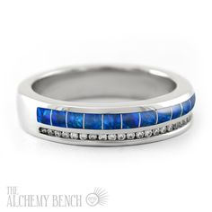 Beautiful hand-crafted blue opal and diamond wedding band. Men's and women's sizes - for those who yearn to be different! | The Alchemy Bench #bridaltransformed