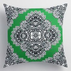 Enliven your favorite lounging spaces in an instant with the dazzling black, white and green-hued pattern of this comfy throw pillow.