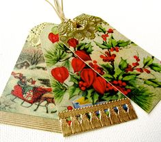 Handmade gift tags by the Christmas Muse made from 1940s Christmas cards and embellished with gold foil and glitter. These and other pretty tags at xmasmuse.etsy.com.
