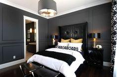 Petite chambre de maître avec tête de lit en noir et couleurs de peinture