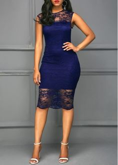 Cap Sleeve Round Neck Navy Blue Lace Dress on sale only US$39.63 now, buy cheap Cap Sleeve Round Neck Navy Blue Lace Dress at liligal.com
