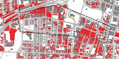 The red areas on this map of Hartford are all parking lots.  Can a city be vibrant when it is designed for cars and not people?