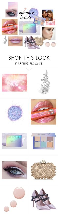 """""""Shimmer Beauty Set"""" by potentialloveinterest ❤ liked on Polyvore featuring beauty, The Gypsy Shrine, My Little Pony, Anastasia Beverly Hills, Jane Iredale, Jimmy Choo, Topshop, Valentino and N°21"""