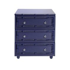 Navy Lacquer Bamboo Detailed 3-Drawer Side Table