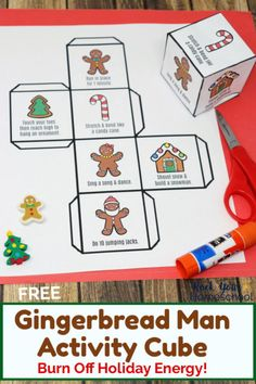 This free printable Gingerbread Man Activity Cube is an excellent way to have easy holiday fun with kids. Help them burn off all that energy & excitement! Great for parties & family fun, too. #gingerbreadmanactivitycube #gingerbreadmanfun #gingerbreadmanactivity #gingerbreadmanprintables #holidayfunforkids