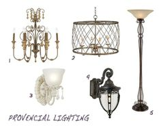 Provencial ceiling and wall lighting Wall Lighting, Lighting Ideas, Parisian Decor, Chandelier, Decor Ideas, Ceiling Lights, French, Diy, House