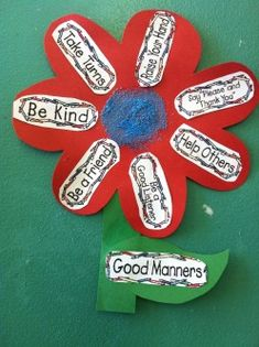 Could do an art project like this one for manners week. Maybe have it on a wheel that the kids decorate and can spin and then tell what the manner is about?