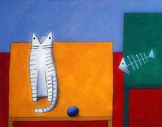 Gato branco mesa amarela espinha de peixe  - Gustavo Rosa