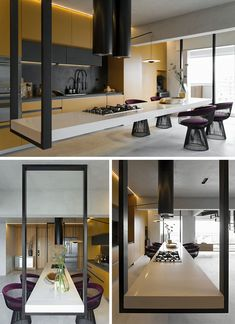 This modern kitchen features an eye-catching hanging island, that measures in at 14 feet long, and is suspended at its ends by black metal supports. Modern Kitchen Design, Interior Design Kitchen, Modern Interior Design, Interior Architecture, Küchen Design, House Design, Design Ideas, Minimalist Kitchen, Cabinet Design