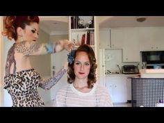 Vintage 1950's hair tutorial on curly hair with no bangs by CHERRY DOLLFACE - YouTube